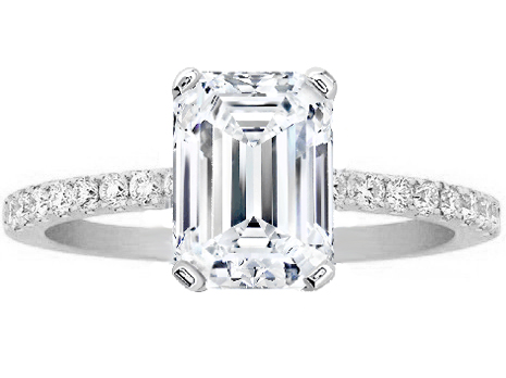 emerald cut diamond petite engagement ring pave band in 14k white gold - Emerald Cut Wedding Rings
