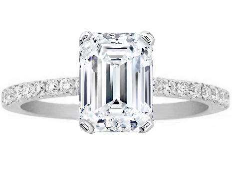 Engagement Ring Emerald Cut Diamond Petite Engagement Ring Pave