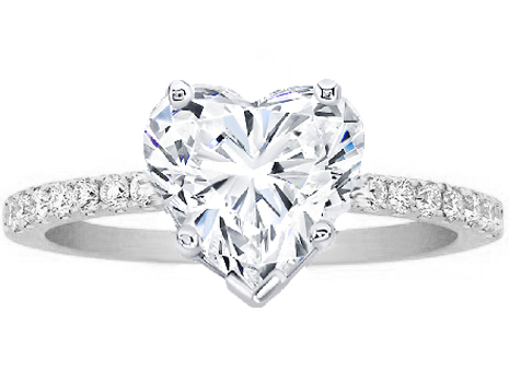 Heart Shape Diamond Petite Engagement Ring Pave Band in 14K White Gold ...