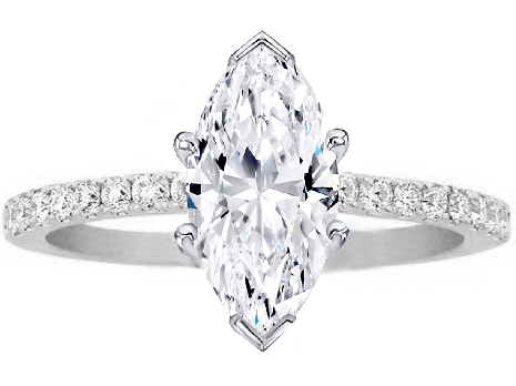 Marquise Shape Diamond Pee Engagement Ring Pave Band In 14k White Gold