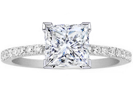 Princess Cut Diamond Petite Engagement Ring Pave Band in 14K White Gold