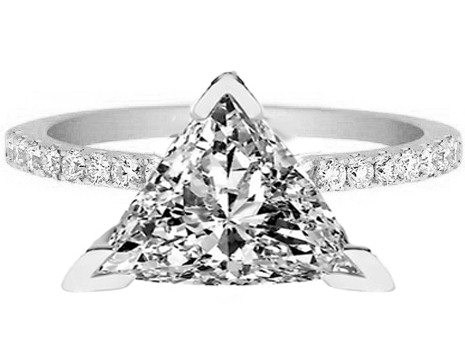 Trillion Shape Diamond Petite Engagement Ring Pave Band in 14K White Gold