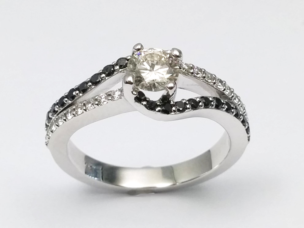Double Swirl Black & White Diamond Engagement Ring