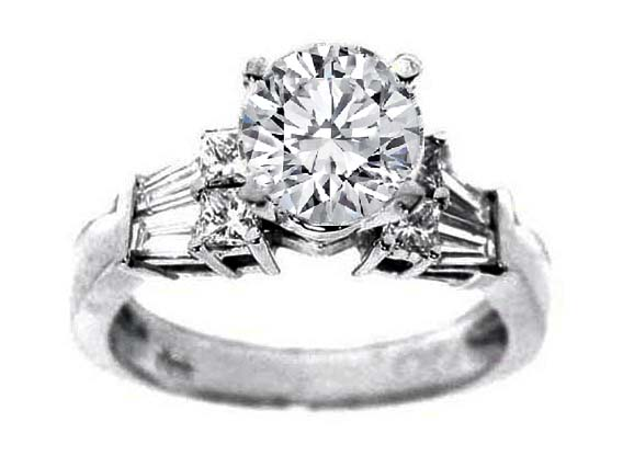 Diamond Engagement ring Tapered Baguette and Princess diamonds sides 0.4 tcw. In 14K White Gold