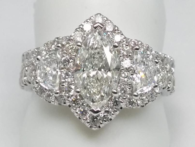 Engagement Ring Marquise Diamond Halo Engagement Ring Half Moon Side stones