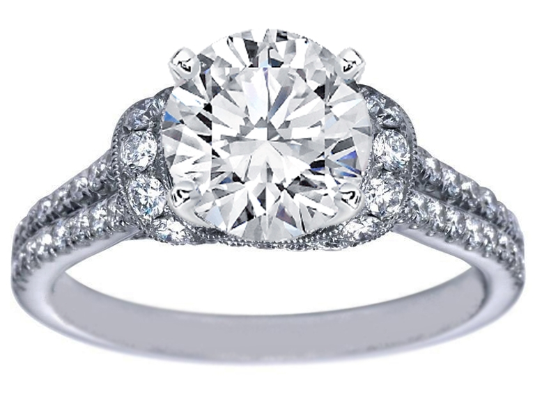 Laced Semi Halo Engagement Ring & Wrap Wedding Band Bridal Set