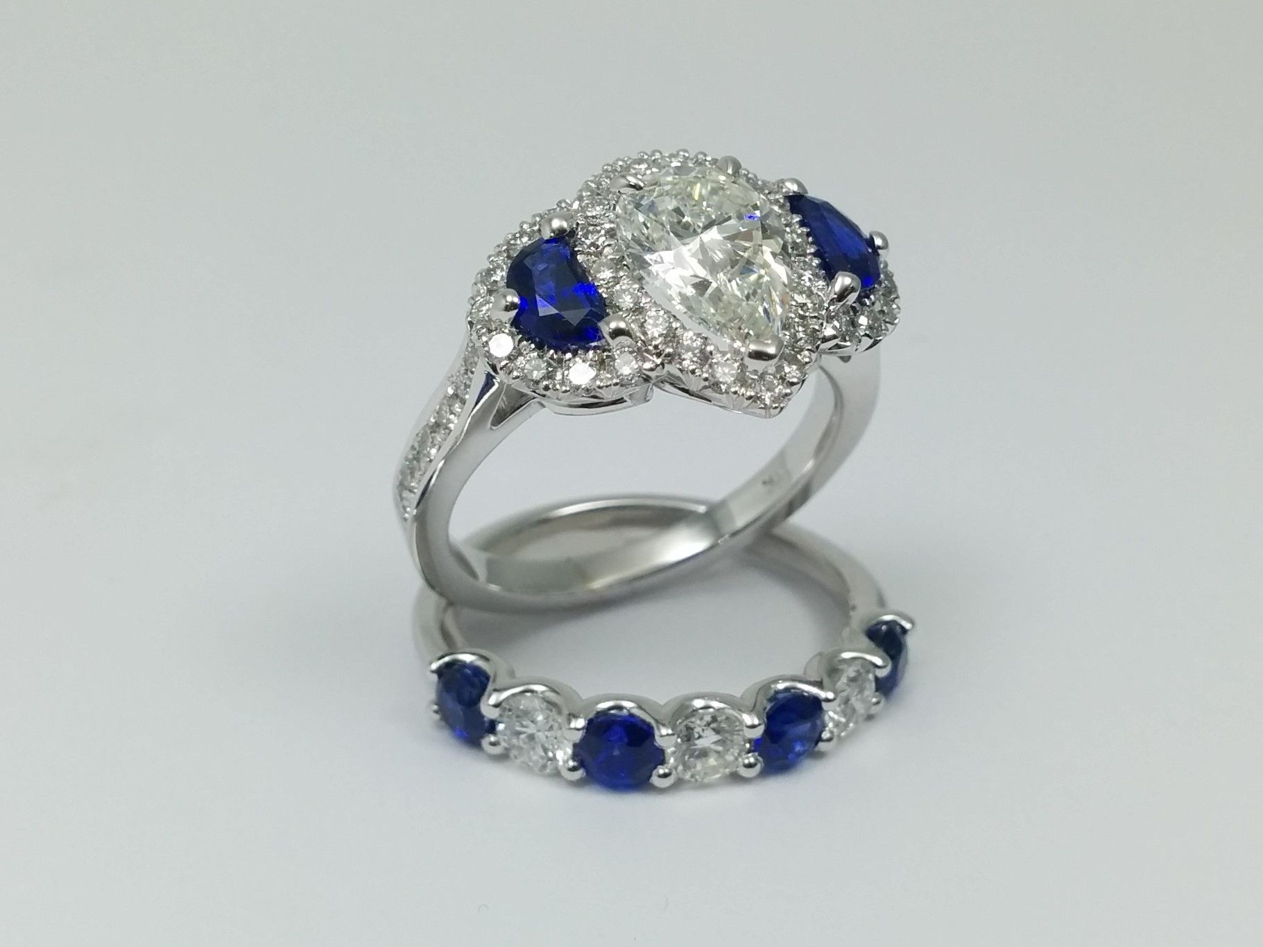 Engagement Ring Pear Shaped Diamond Ring Half Moons Blue Sapphires