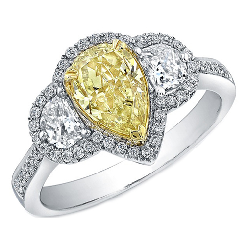 Pear Shaped Yellow Diamond Ring Half Moons Sides in Two-Tone Gold