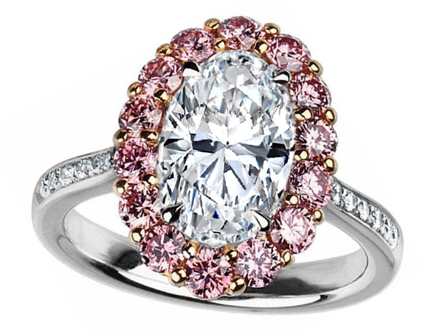 Oval Diamond Ring Natural Intense Pink Diamond Halo in Platinum