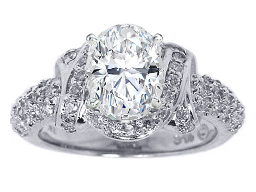 Oval Diamond Engagement Ring Laced Three Row Diamonds 0.6 tcw. In 14K White Gold