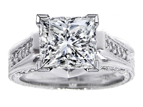 Princess Diamond Vintage Pave Cathedral Engagement Ring 0.4 tcw. In 14K White Gold