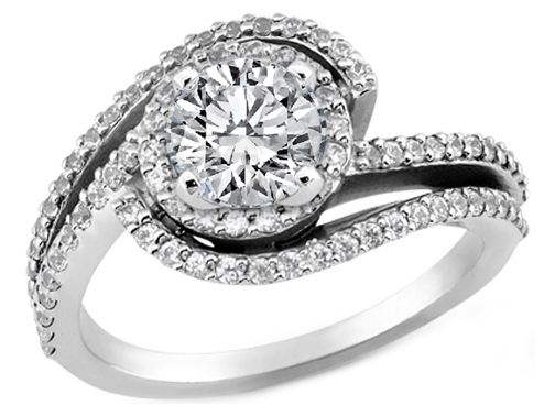 Double Swirl Diamond Halo Engagement Ring