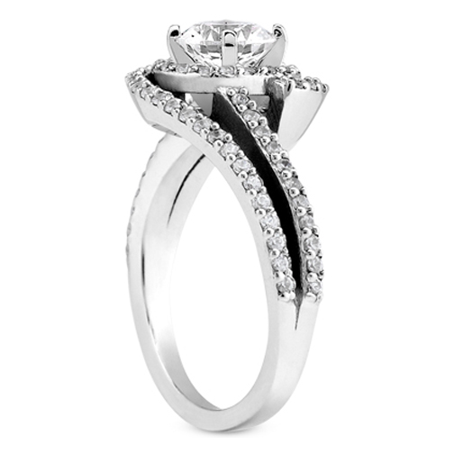 Engagement Ring Double Swirl Diamond Halo Engagement RingES1050