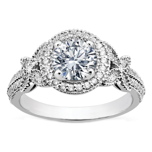 vintage style diamond halo butterfly engagement ring - Vintage Style Wedding Rings