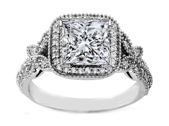 vintage style princess diamond halo butterfly engagement ring - Butterfly Wedding Rings