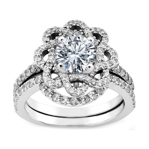 Flower Halo Wedding: Engagement Ring -Floral Halo Diamond Engagement Ring And