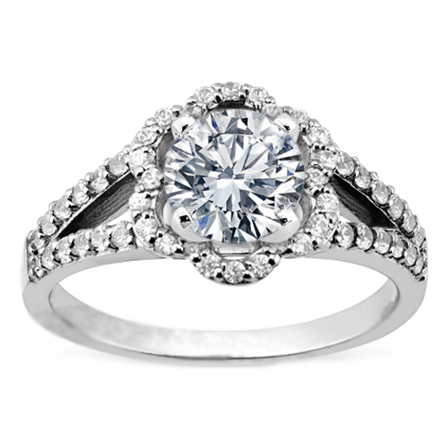 Floral Split Band Diamond Engagement Ring 0.42 tcw.