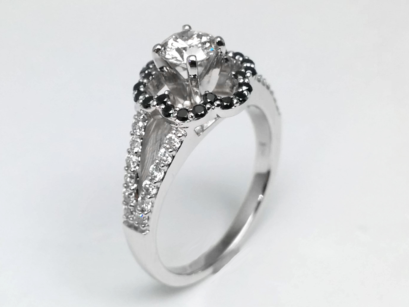 Black Diamond Floral Split Band Diamond Engagement Ring in 14k White Gold