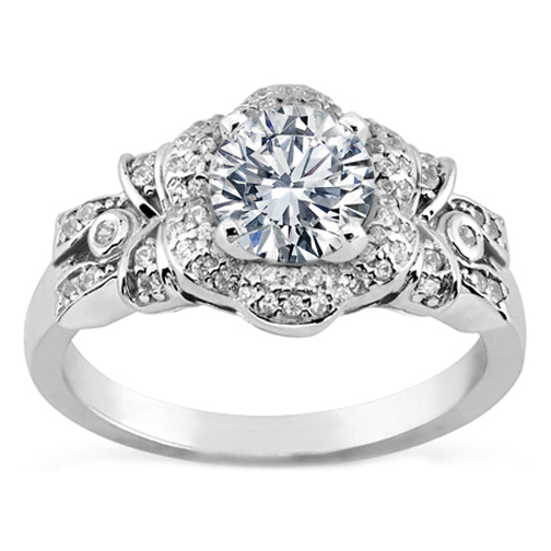 diamond bows flower engagement ring in white gold - Flower Wedding Rings