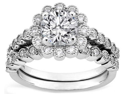 Floral Halo Diamond Engagement Ring with Milligrain and Matching Wedding Band in White Gold