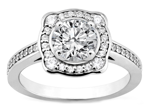 Cathedral Halo Diamond Engagement Ring in White Gold