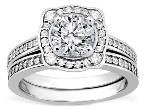 Cathedral Halo Diamond Engagement Ring and Matching Wedding Band in White Gold