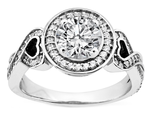 Diamond Halo and Hearts Engagement Ring in 14K White Gold