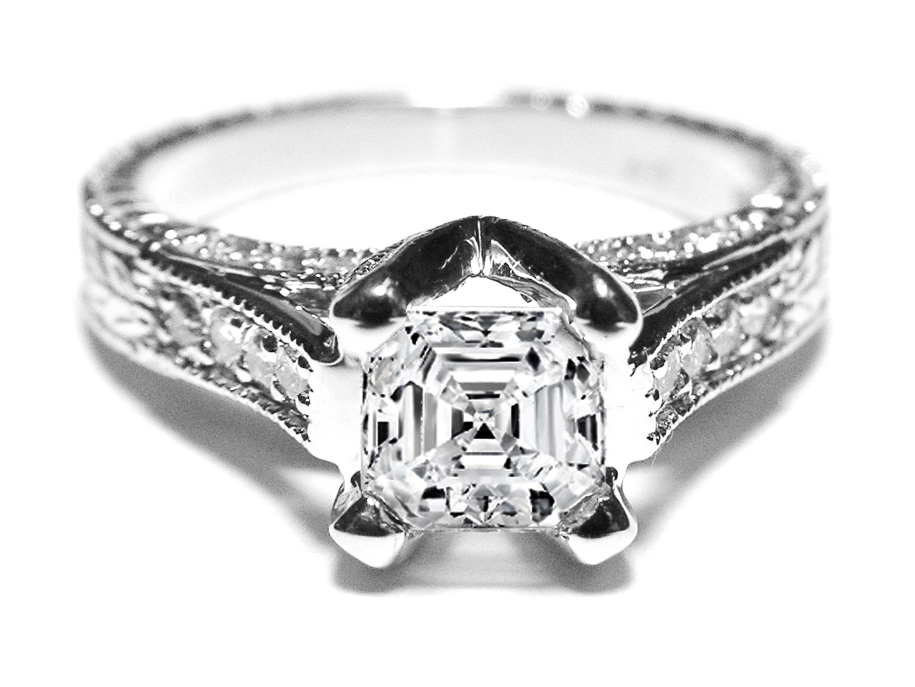 Asscher Diamond Vintage Pave Cathedral Engagement Ring 0.4 tcw.