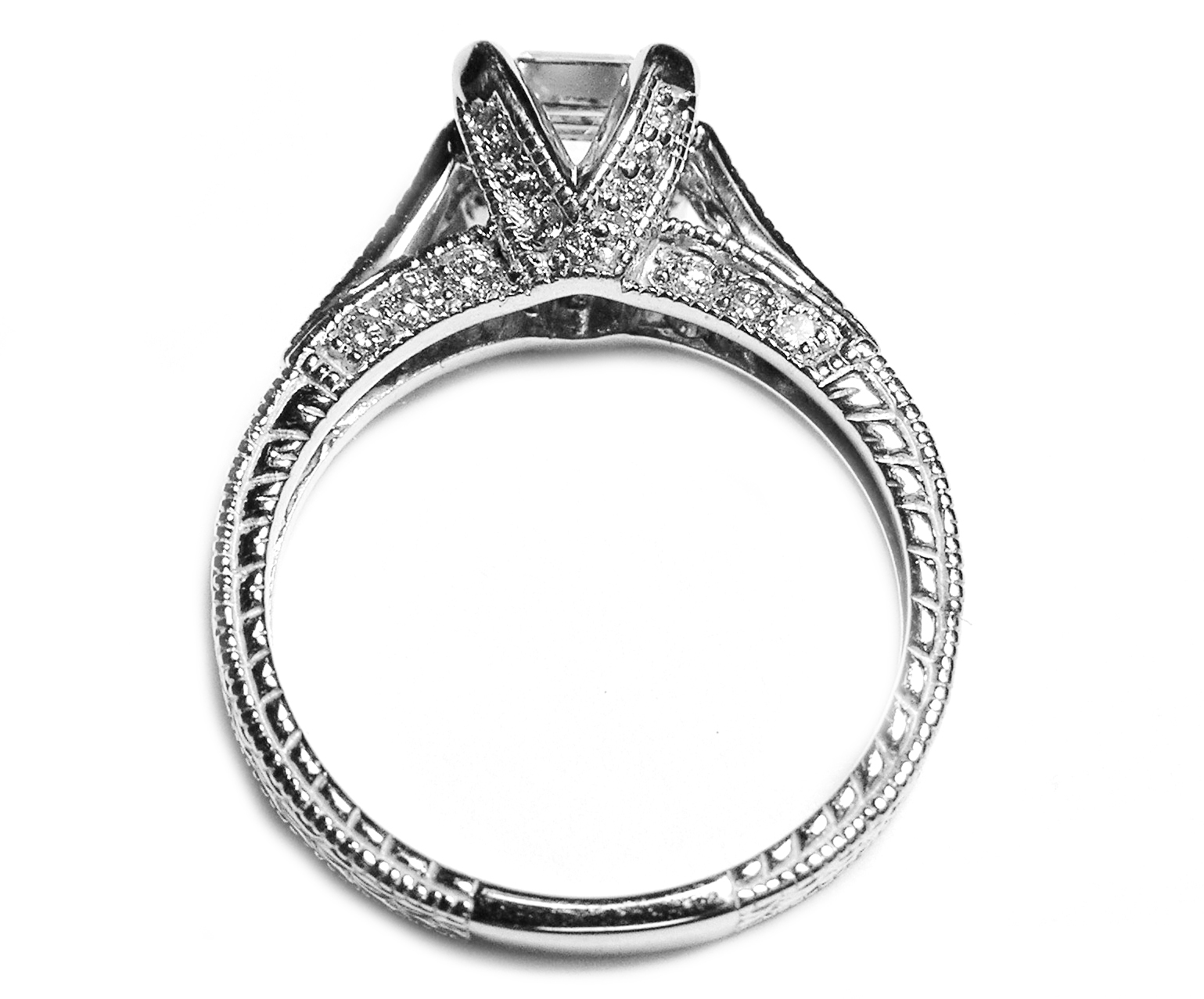 Engagement Ring Asscher Diamond Vintage Pave Cathedral Engagement