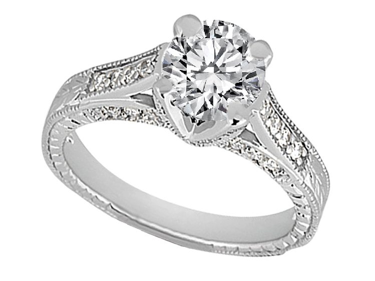 Round Diamond Vintage Pave Cathedral Engagement Ring 0.40 tcw, in 14k White Gold