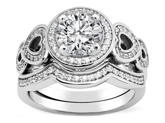 Diamond Engagement Ring Double Open Hearts in White Gold & Wrap Wedding Band in White Gold