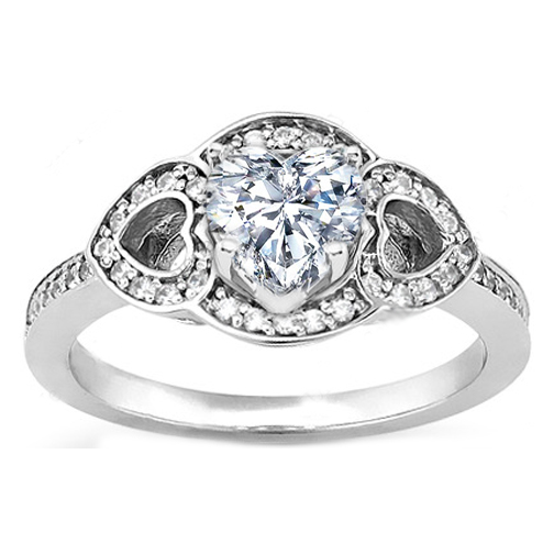 Heart Shape Diamond Engagement Ring with Hearts in White Gold