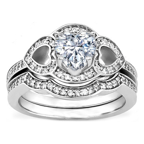 Engagement Ring -Heart Shaped Diamond Engagement Ring with Hearts ...