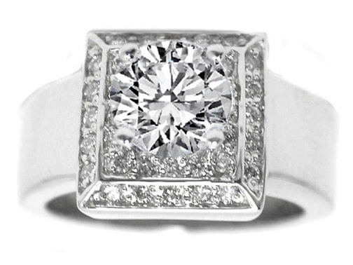 Round Diamond Engagement Ring Square Step up Halo 0.37 tcw. 14K White Gold