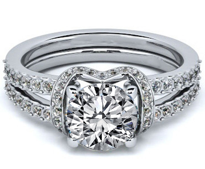 Round Diamond Engagement Ring Double Pave Band in 14K White Gold