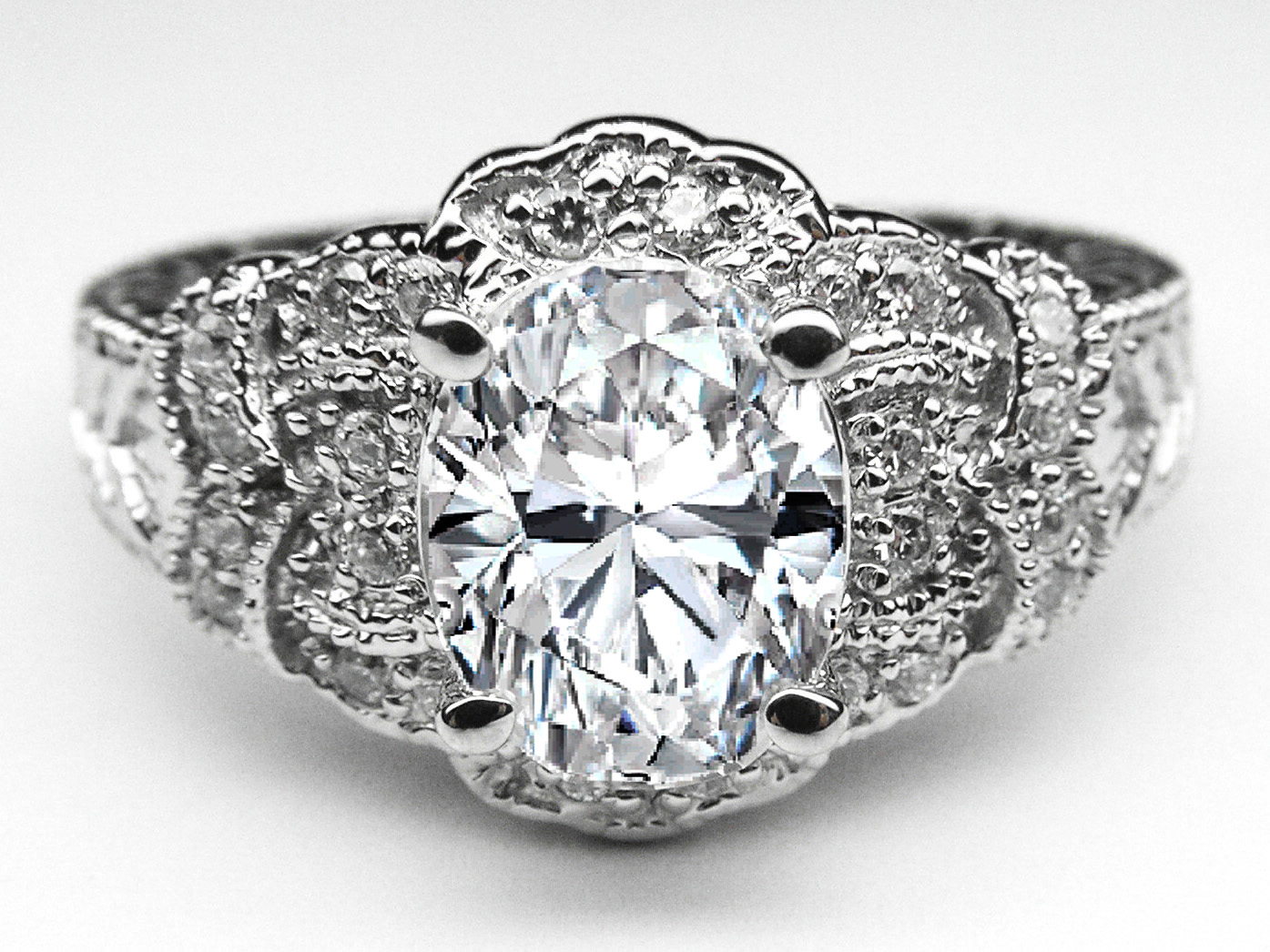 Oval Diamond Floral Engagement Ring in 14K White Gold