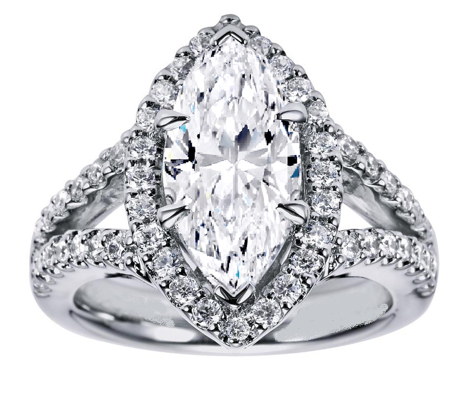 Marquise Diamond Engagement Ring Halo Double band in 14K White Gold