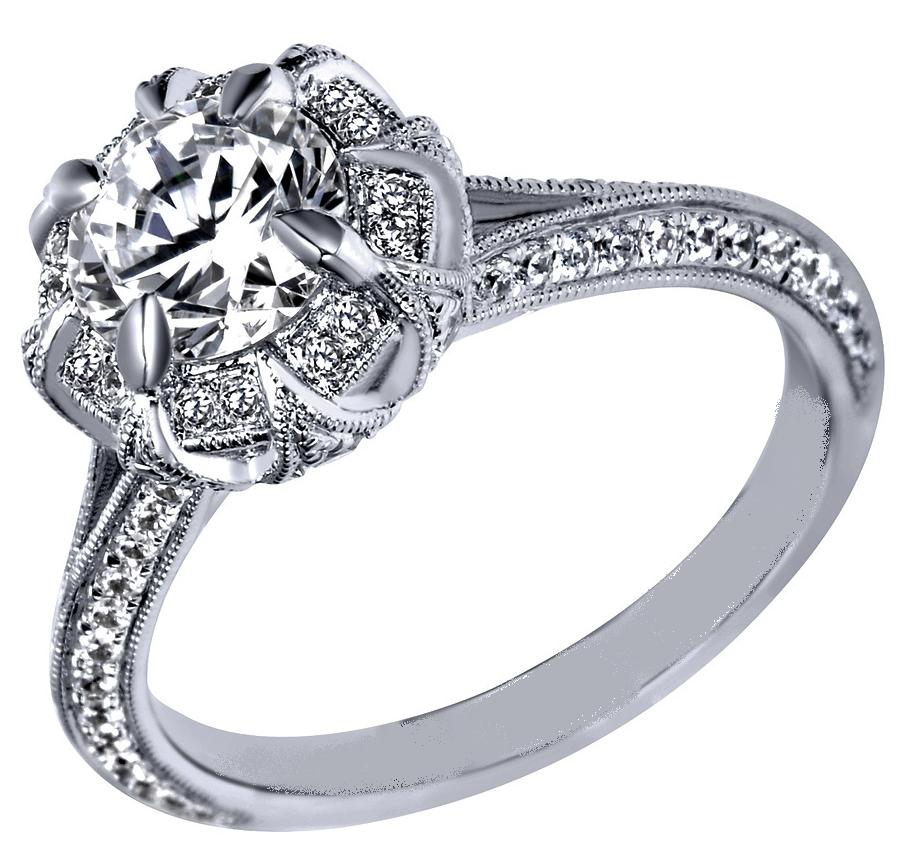 engagement ring victorian halo engagement ring in 14k. Black Bedroom Furniture Sets. Home Design Ideas