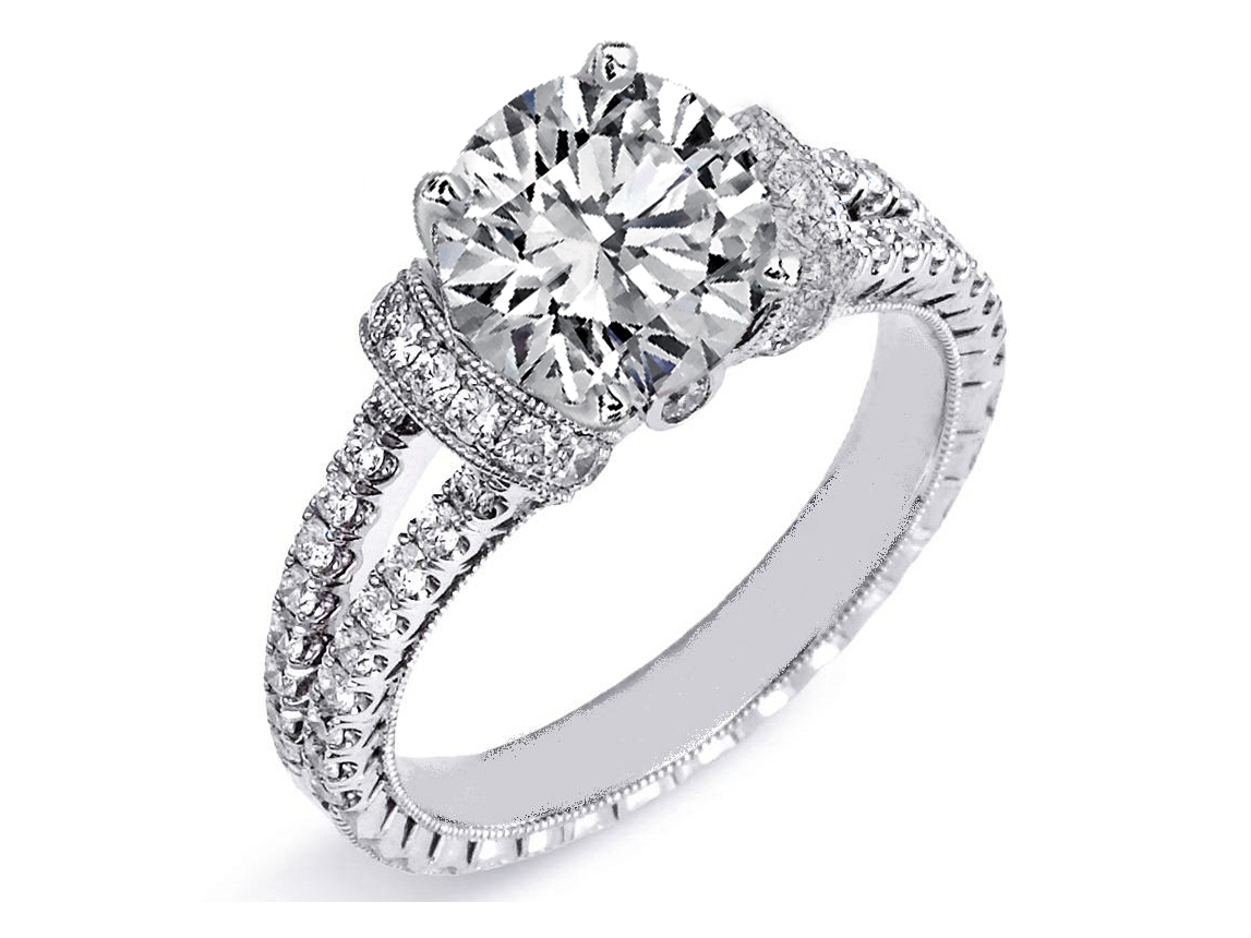 Split band engagement rings from mdc diamonds nyc for Double band diamond wedding ring