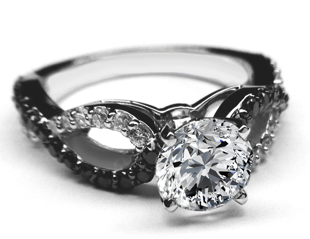 black white infinity diamond engagement ring in 14k white gold - Black And White Wedding Rings