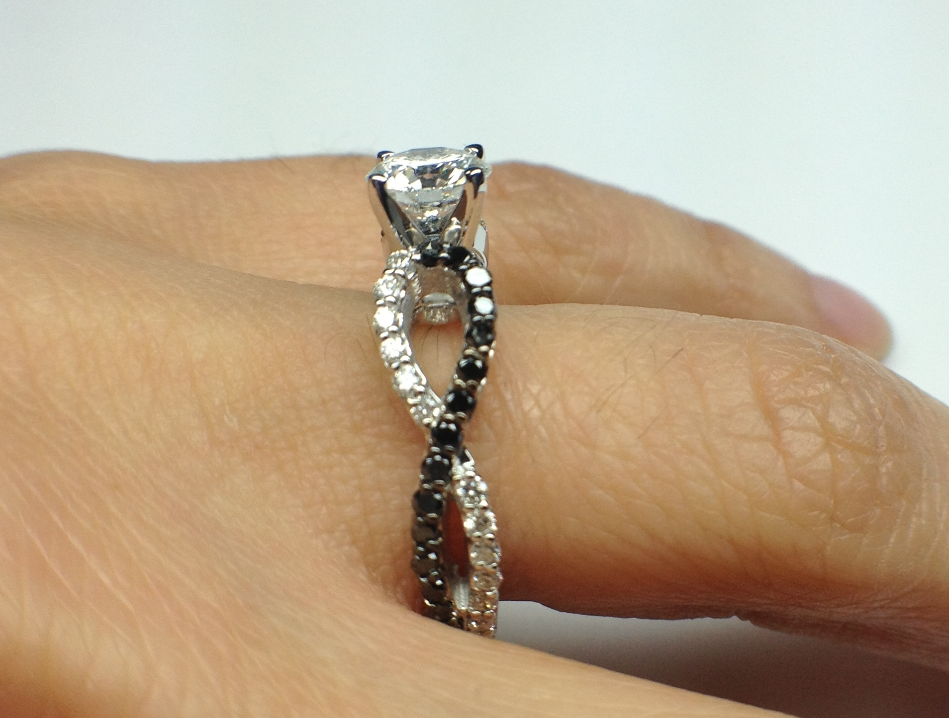 Engagement Ring Black & White Infinity Diamond Engagement Ring in