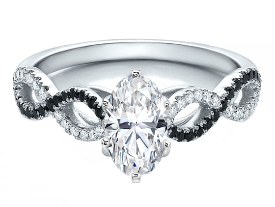 Oval Diamond Black & White Infinity Engagement Ring in 14K White Gold