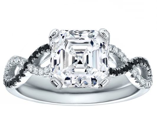 Asscher Cut Diamond Black & White Infinity Engagement Ring