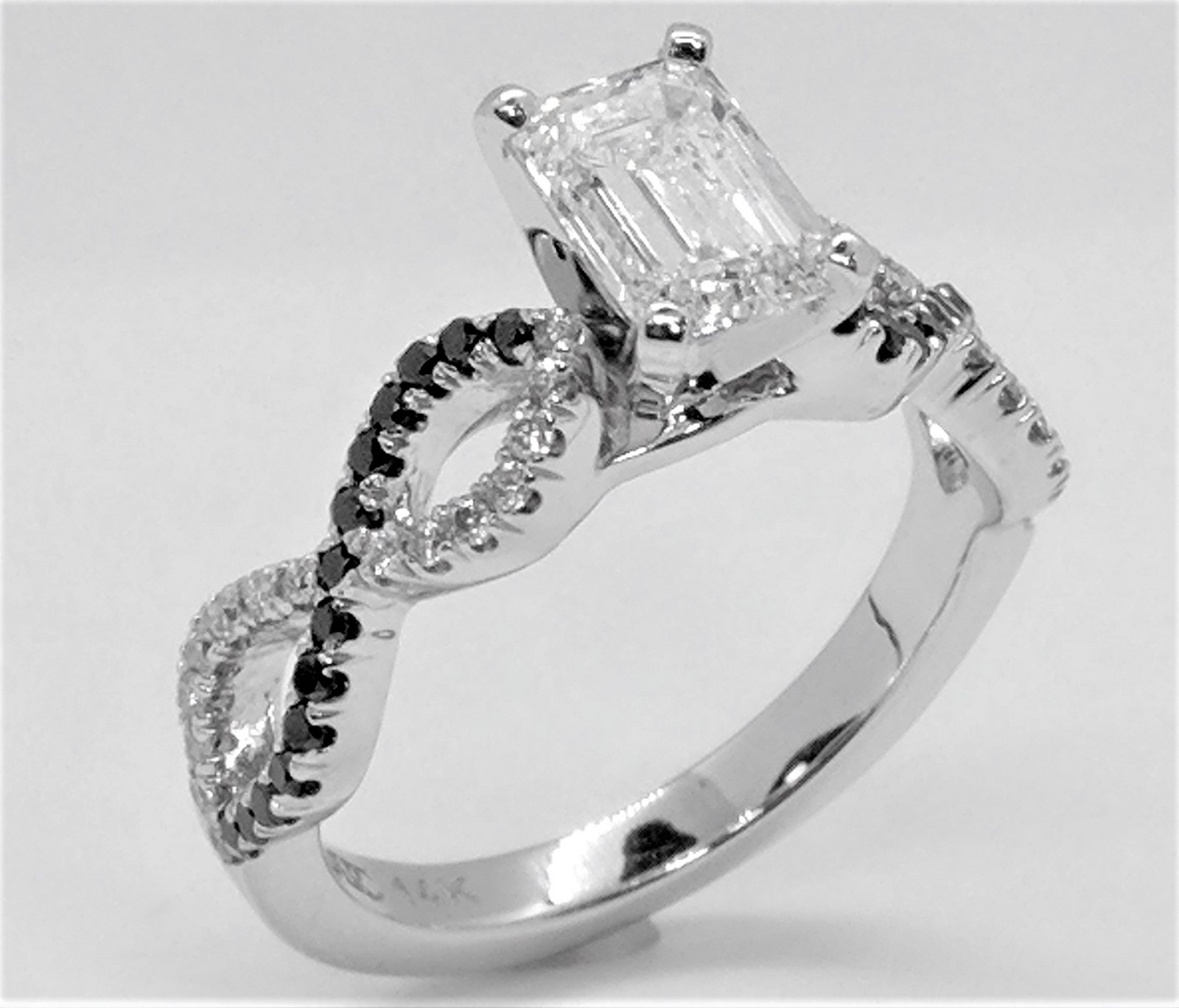 Emerald Cut Diamond Black & White Infinity Engagement Ring