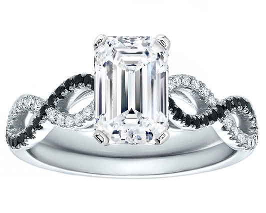 Emerald Cut Diamond Black & White Infinity Engagement Ring in 14K White Gold