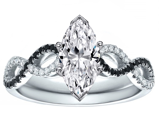 Marquise Cut Diamond Black & White Infinity  Engagement Ring in 14K White Gold