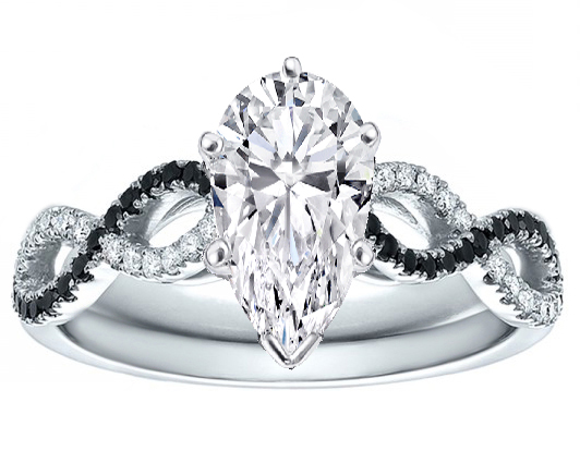 Pear Cut Diamond Cut Black & White Infinity Engagement Ring in 14K White Gold