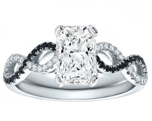 Radiant Cut Diamond Cut Black & White Infinity Engagement Ring in 14K White Gold