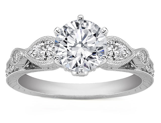 Diamond Engagement Ring Pear sides 0.6 tcw in 14K White Gold