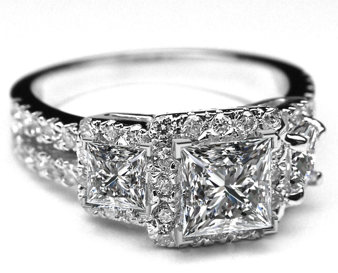 Three Stone Princess Diamond Halo Engagement Ring with Split Band in 14K White Gold